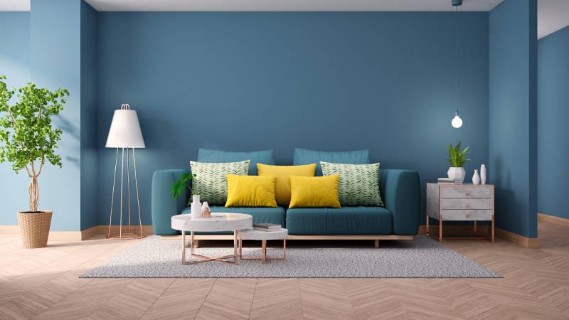 اتاق نشیمن آبی رنگ