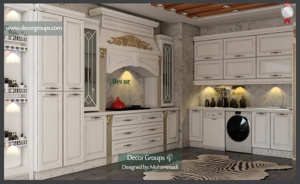 طراحی سه بعدی آشپزخانه کلاسیک